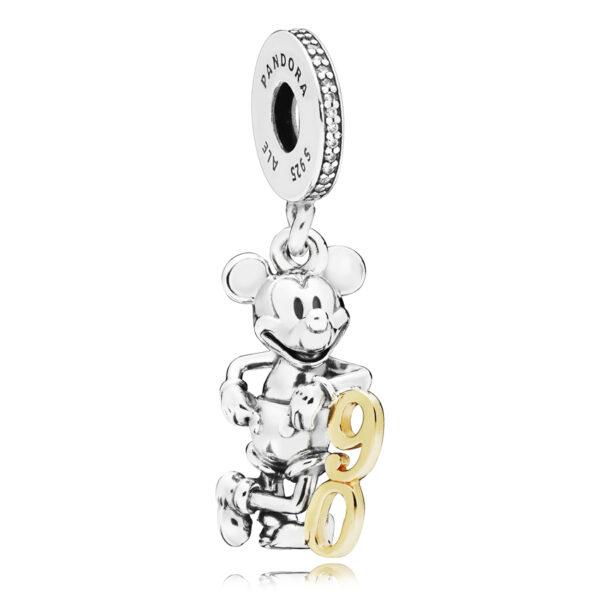 Κρεμαστό Σύμβολο Ασ. 925 Με Χρυσό Κ14 Και Κυβική Ζιρκόνια, Disney Mickey Επετειακό 90 Έτη 797497Cz