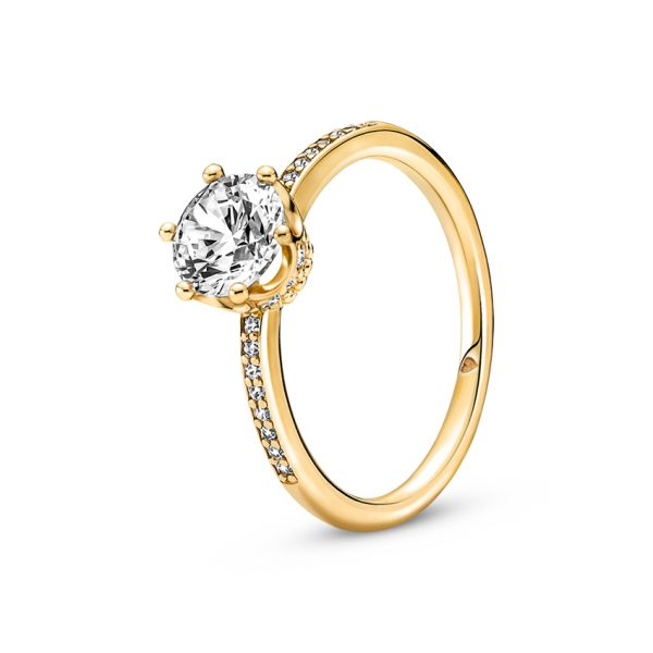 168289C01 Δαχτυλίδι Ασήμι 925 Με Επίστρωση Χρυσού 14Κ Και Κυβ. Ζιρκόνια, Κορώνα