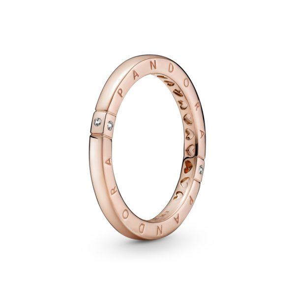 189482C01 Δαχτυλίδι Ασήμι 925 Με Επίστρωση Ροζ Χρυσού 14Κ Και Με Κυβική Ζιρκόνια, Λογότυπο Pandora