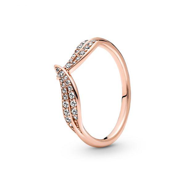 189533C01 Δαχτυλίδι Ασήμι 925 Με Επίστρωση Ροζ Χρυσού Κ14 Και Κυβική Ζιρκόνια, Φύλλα