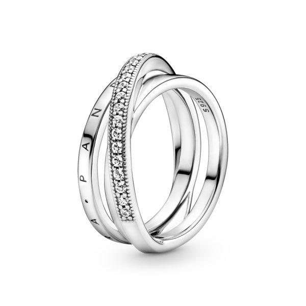 199057C01 Δαχτυλίδι Ασήμι 925 Με Κυβική Ζιρκόνια, Λογότυπο Pandora