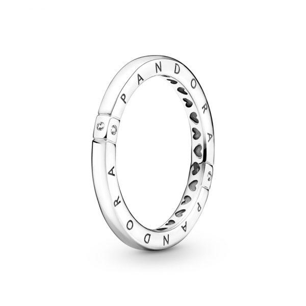 199482C01 Δαχτυλίδι Ασήμι 925 Με Κυβική Ζιρκόνια, Λογότυπο Pandora