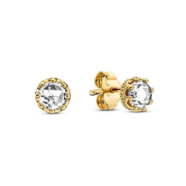 268311C01 Σκουλαρίκια Ασήμι 925 Με Επίστρωση Χρυσού Κ14 Και Κυβ. Ζιρκόνια, Κορώνα