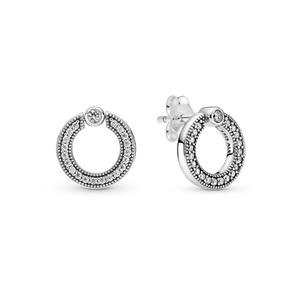 299486C01 Σκουλαρίκια Ασήμι 925 Με Κυβική Ζιρκόνια, Λογότυπο Pandora