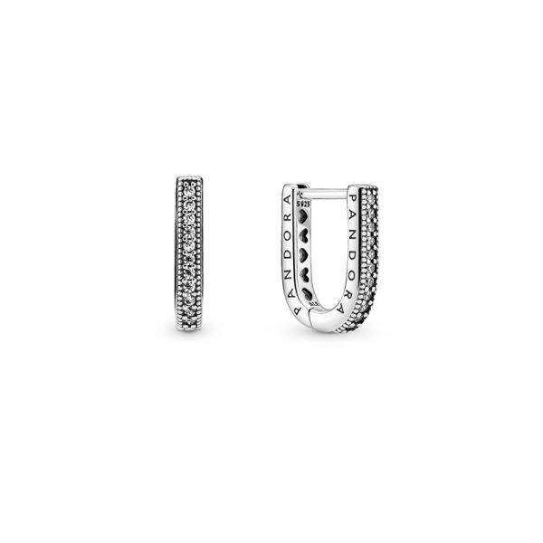 299488C01 Σκουλαρίκια Ασήμι 925 Με Κυβική Ζιρκόνια, Λογότυπο Pandora
