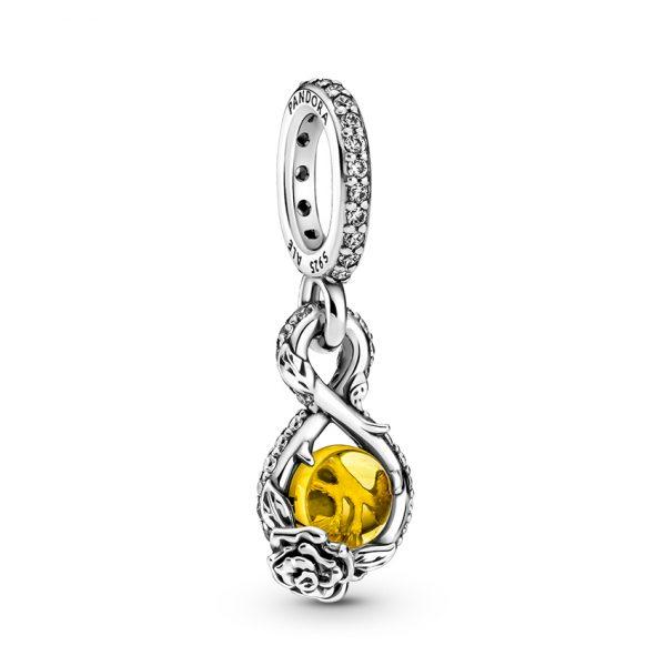 399525C01 Κρεμαστό Σύμβολο Ασήμι 925 Με Κρύσταλλο Και Κυβ. Ζιρκόνια, Άπειρο Και Τριαντάφυλλο Disney Belle
