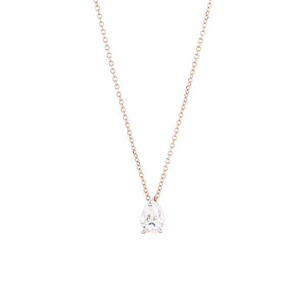 Κολιέ Ροζκαι Λευκό Χρυσό Κ14 Με Κύβ. Ζιρκόνια, Μονόπετρο Lme0312