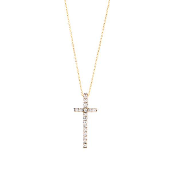 Βαπτιστικός Σταυρός Κίτρινο Χρυσό Κ18 Με Διαμάντια Στδ0021