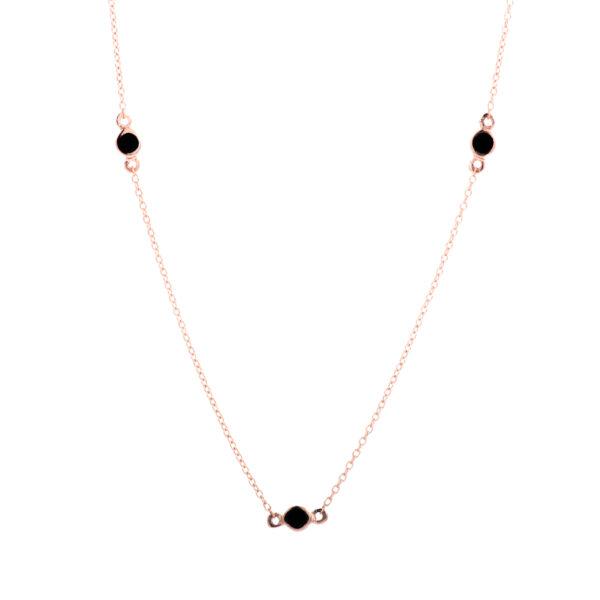 Σμ8715-1.3 Κολιέ Ροζ Χρυσό Κ14 Με Κυβ. Ζιρκόνια