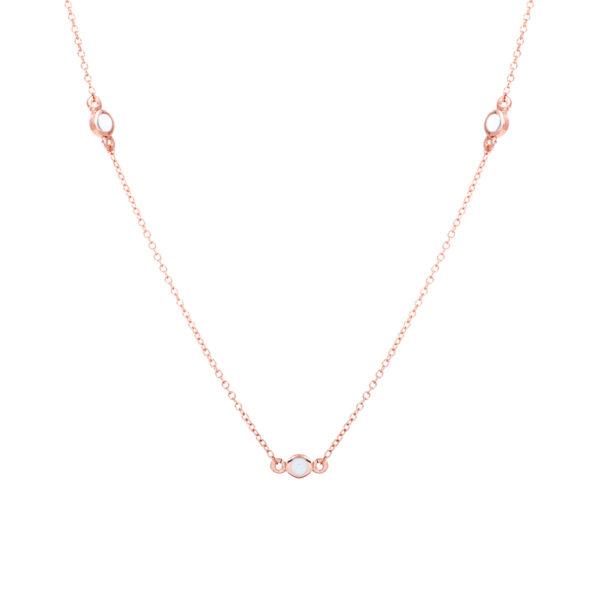 Σμ8258-1.2 Κολιέ Ροζ Χρυσό Κ14 Με Κυβ. Ζιρκόνια