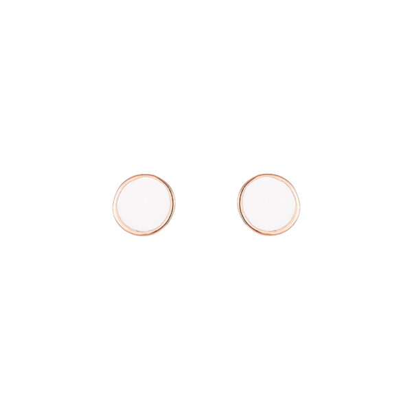 Σκουλαρίκια Ροζ Χρυσό Κ14 Με Σμάλτο Σκλ3392-0.7