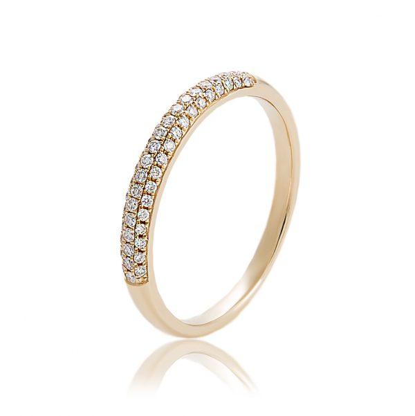 Δαχτυλίδι Μισόβερο Κίτρινο Χρυσό Κ18 Με Φυσικά Διαμάντια Lr046H