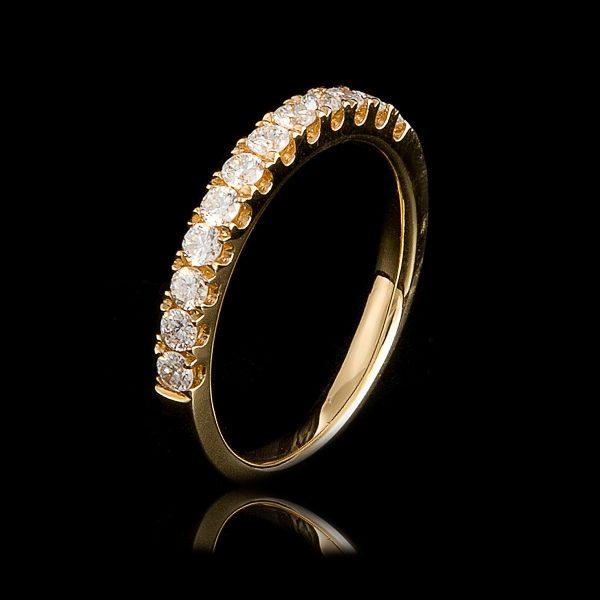 Δαχτυλίδι Μισόβερο Κ18 Κίτρινο Με Φυσικά Διαμάντια Lr9995Hn