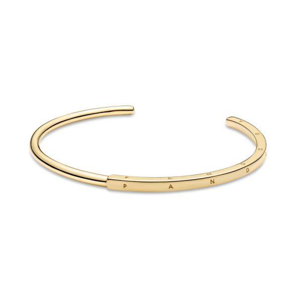 569493C00 Βραχιόλι Ανοιχτό Ασήμι 925 Με Επίστρωση Χρυσού 14Κ, Λογότυπο Pandora