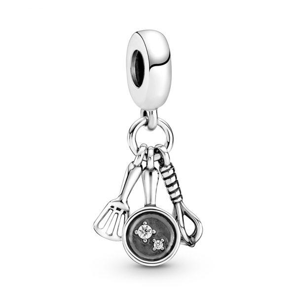 799531C01 Κρεμαστό Σύμβολο Ασήμι 925 Με Κυβική Ζιρκόνια Τριλογία Σπάτουλα, Τηγάνι Και Αναδευτήρας