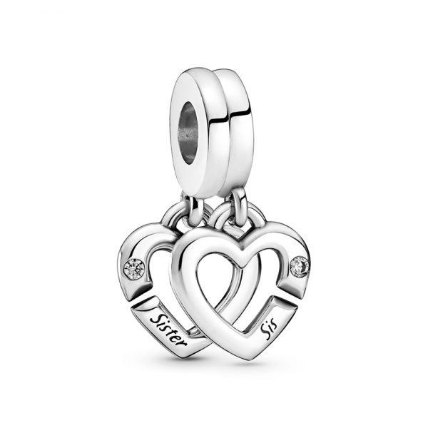 799538C01 Κρεμαστό Σύμβολο Ασήμι 925 Χωριζόμενο Με Κυβική Ζιρκόνια, Καρδιά Αδελφές