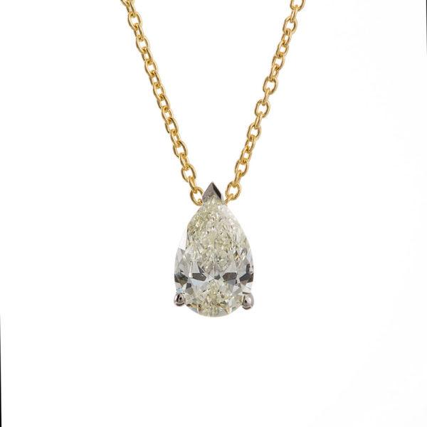 Κολιέ Κίτρινο &Amp; Λευκό Χρυσό Κ18 Με Φυσικό Fancy Yellowish Διαμάντι, Μονόπετροkme0219-1.3_01