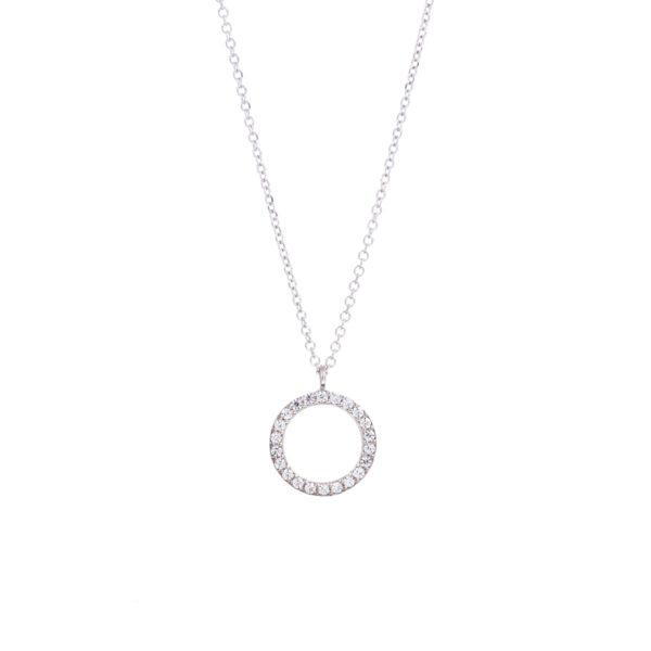 Κολιέ Λευκό Χρυσό Κ14 Με Κυβ. Ζιρκόνια, Κύκλοςlme0084-40+5(1.9)