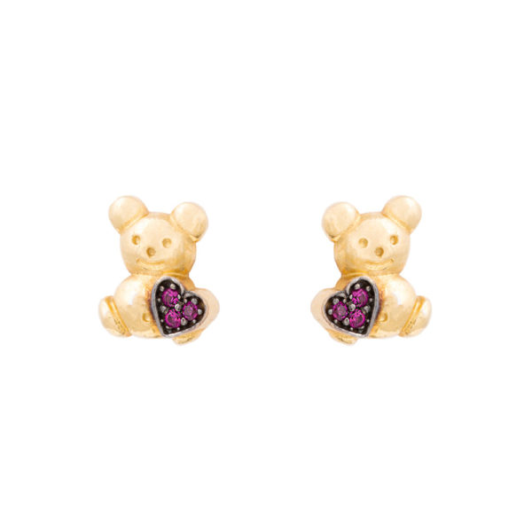 Pksk0006-1.3 Παιδικά Σκουλαρίκια Κίτρινο Χρυσό 585 Με Κυβ. Ζιρκόνια, Αρκουδάκι Με Καρδιά