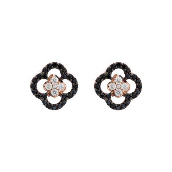 Σκουλαρίκια Ροζ Χρυσό Κ14 Με Κυβ. Ζιρκόνια, Λουλούδι Rsk0008-2