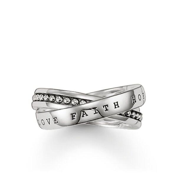 Tr1930-001-12 Διπλό Δαχτυλίδι Ασ. 925 Love Faith Hope
